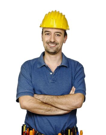 electrical contractor:  young caucasian mantool isolated on white background