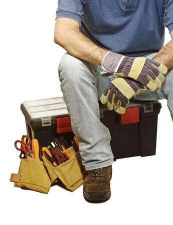 close up on handyman tools on white background photo