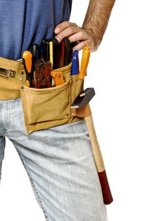 herramientas de carpinteria: imagen en primer plano cintur�n de herramientas de cuero cl�sico de manitas