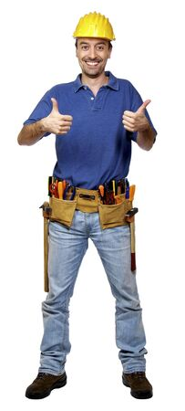 journeyman technician: portrait of young caucasian positive handyman isolated on white
