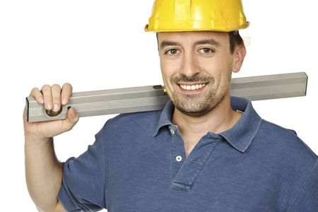 journeyman technician: portrait of young caucasian handyman isolated on white background Stock Photo