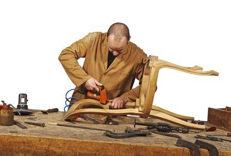 craftsman at work isolated on white background photo