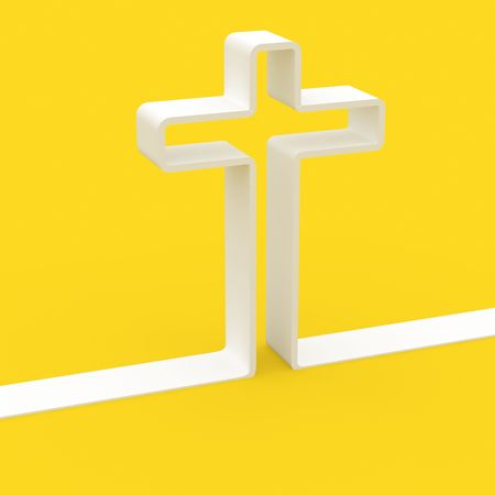 sacrifice: fine 3d image of white cross on yellow background colors of vatican