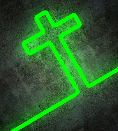 church 3d: fine 3d image of green cross of light on grunge concrete background