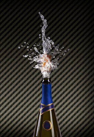 champagne bottle with shooting cork on CARBON  background  photo