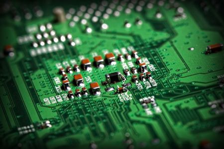 computer component: fine close up image of electronic computer component background selective focus Stock Photo
