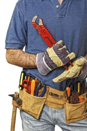 détail sur toolbelt du travailleur manuel caucasien