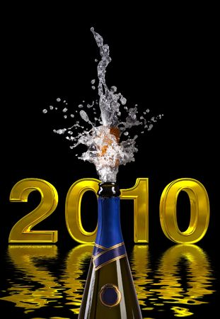 champagne bottle with shooting cork on 2010 background Stock Photo - 6015963