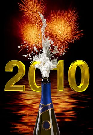 champagne bottle with shooting cork on 2010 background