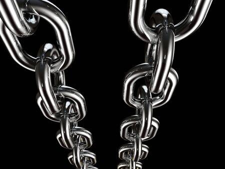 robust: metal chain on black background fine 3d illustration