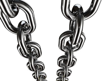 severed: fine 3d image of metal chain on white background Stock Photo