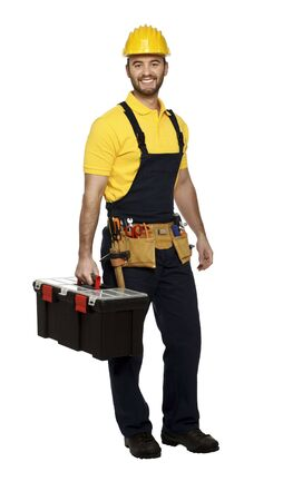 positive young manual worker with classic toolbox isolated on white Stock Photo - 6059221
