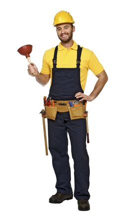 caucasian smiling plumber isolated on white background Stock Photo - 6083754