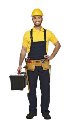 journeyman technician: young manual worker with tool box isolated on white background Stock Photo