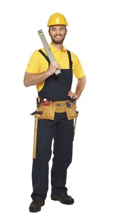 contruction: contruction worker with spirit level isolated on white background Stock Photo