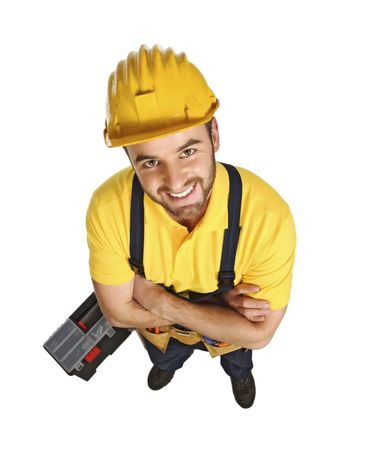 journeyman: fun contruction worker portrait isolated on white view from above Stock Photo