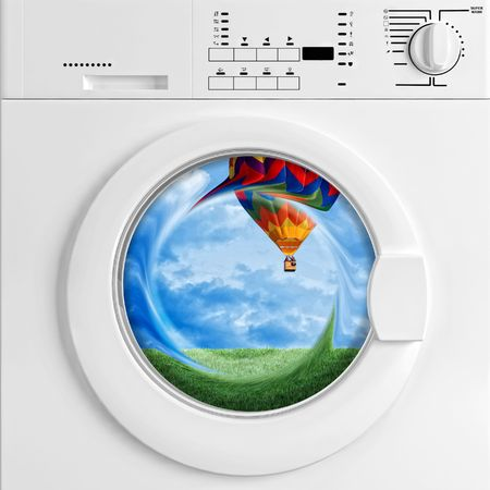 laundry concept: fine 3d image of classic washing machine and scenic view, metaphoric concept