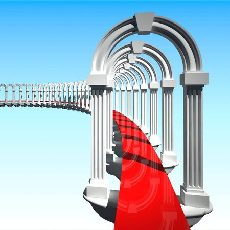 business metaphore: white 3d portal doors and red path background