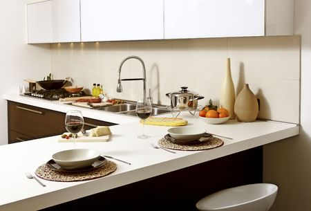 counter light: image of modern kitchen ready for lunch background