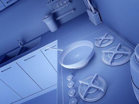 fine 3d illustratio of modern wireframe kitchen background photo