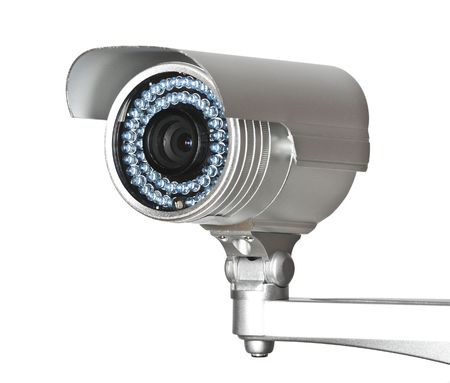 cctv camera: fine image of classic cctv infrared security camera isolated on white