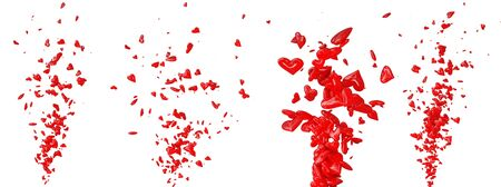 fondness: different spray red hesrt isolated on white background Stock Photo