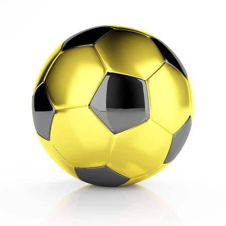 3d image of golden classic soccer ball background photo