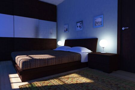 night view: 3d illustration of modern bedroom, night view