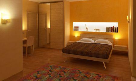 3d illustration of modern wood bedroom artificial light Stock Illustration - 6397201