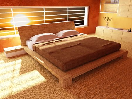 modern wood bedroom 3d and warm sunset outside photo