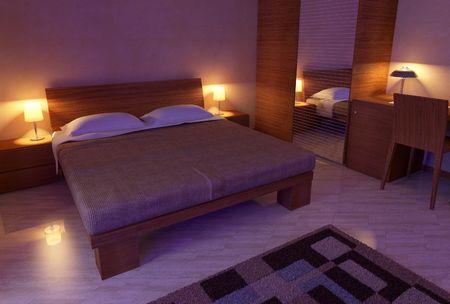 modern wood bedroom interior 3D computer generated soft light Stock Photo - 6401995
