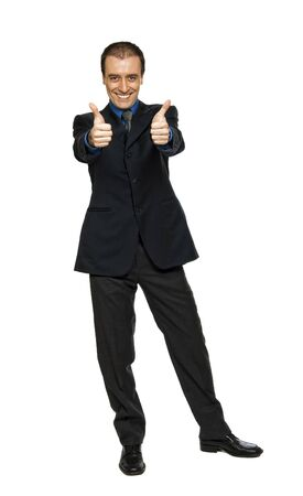 young businessman thumbs up standing on white background Stock Photo - 6410697