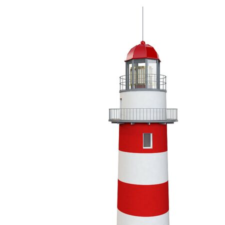 overlook: isolated classic 3d lighthouse on white background