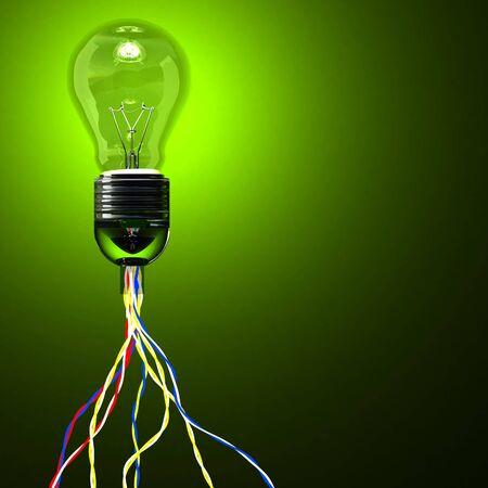 3D klassische Glühbirne und verschiedene Anschlusskabel