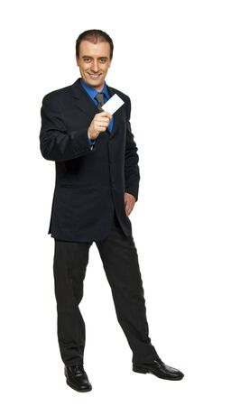 standing businessman and personal blank card in his hand photo