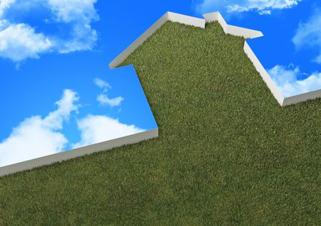 3d image of green house metaphor and blue sky Stock Photo - 6474094