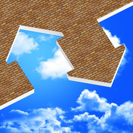 housing problems: image 3d of house icon background and blue sky