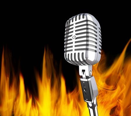 classic 3d metal microphone in the fire background photo