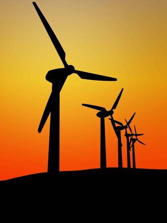 windturbine: wind turbine in the sunset 3d image background Stock Photo