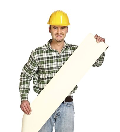 show bill: confident handyman show a long bill isolated on white