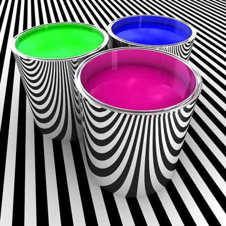 rgb: 3d illustration of metal tank with rgb color paint background Stock Photo