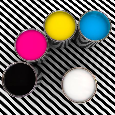 paint color cmyk and white 3d metal can background photo