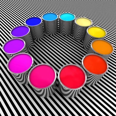 3d paint color and metal can background  photo