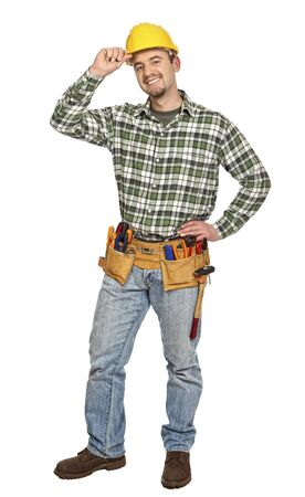 smiling caucasian manual worker isolated on white Stock Photo - 6542893