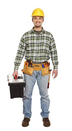 standing handyman with toolbox isolated on white Stock Photo - 6542909