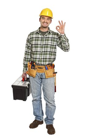 standing handyman with toolbox smile  isolated on white Stock Photo - 6542971