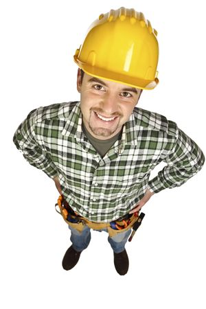 funny manual worker portrait isolated on white background Stock Photo - 6542898