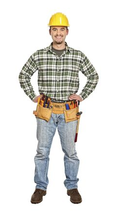 standing smiling  handyman isolated on white background Stock Photo - 6542904