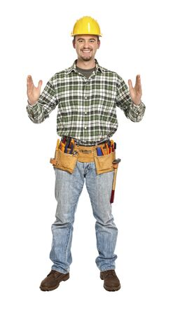 manual worker in showing pose isolated on white Stock Photo - 6542974