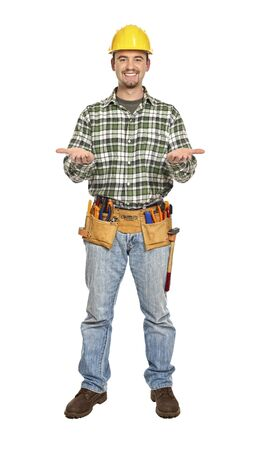 manual worker in showing pose isolated on white Stock Photo - 6542912